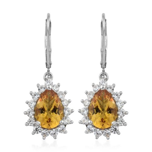 Collectors Edition- Heliodor (Pear), Natural Cambodian Zircon Lever Back Earrings in Platinum Overla