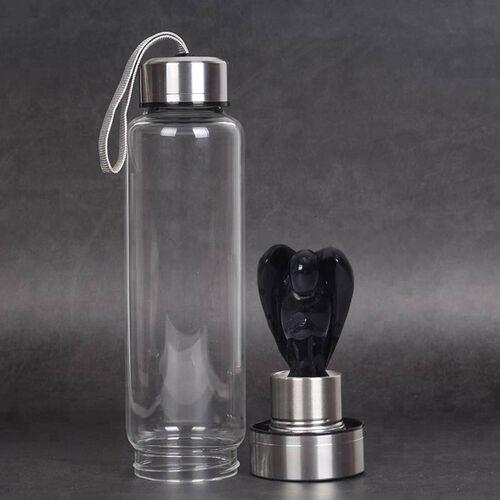 550 ML Black Obsidian Angel Figurine Crystal Elixir Water Bottle with Stainless Steel Cap (Size 24.5x6.5 Cm)