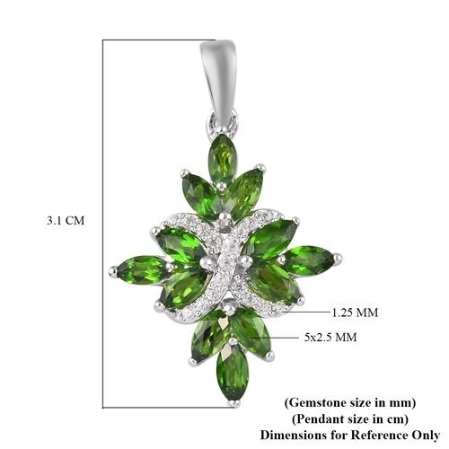 Russian Diopside and Natural Cambodian Zircon Pendant in Platinum Overlay Sterling Silver 2.20 Ct.