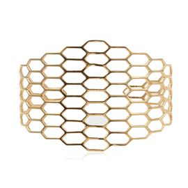Italian Made - Gold Overlay Sterling Silver Honeycomb Bangle (Size 7.5), Silver wt 15.62 Gms