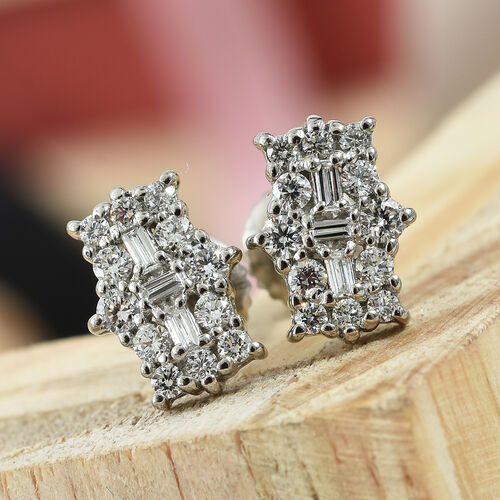 RHAPSODY 950 Platinum IGI Certified Diamond (Rnd and Bgt) (VS/E-F) Boat Cluster Earrings (Screw Back) 0.505 Ct.