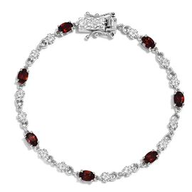 Mozambique Garnet Bracelet (Size 7.5) in Platinum Plated 3.75 Ct.