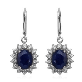 9.46 Ct Blue Sapphire and White Zircon Halo Drop Earrings in Rhodium Plated Sterling Silver