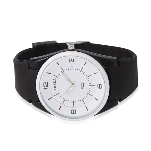STRADA Japanese Movement White Dial Water Resistant Watch in Neon Black Tone with Black Colour Silicone Strap
