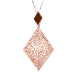 Isabella Liu 0.90 Ct Tigers Eye Windbell Rhombus Pendant With Chain in Rose Gold Plated Silver