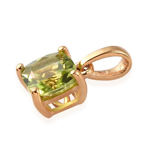 3 Piece Set - Hebei Peridot Solitaire Ring, Pendant and Stud Earrings (with Push Back) in 14K Gold Overlay Sterling Silver 4.25 Ct.