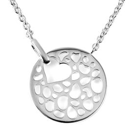 RACHEL GALLEY Rhodium Overlay Sterling Silver Love Theme Pendant with Chain (Size 16/18/20)