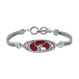 Royal Bali Collection Sponge Coral Bracelet (Size 7.5 - 8) in Sterling Silver, Silver wt 22.60 Gms