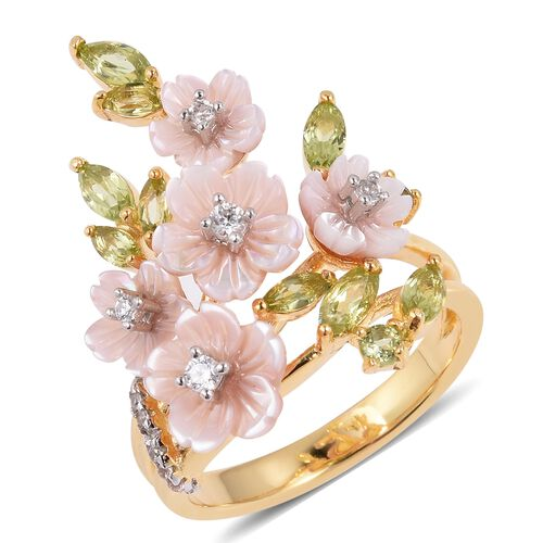 JARDIN COLLECTION - Pink Mother of Pearl, Hebei Peridot and Natural White Cambodian Zircon Floral Enameled Ring in Rhodium and Gold Overlay Sterling Silver, Silver wt 5.70 Gms