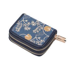 SIGNARE - Tapestry Collection - Jane Austen Blue Double Zip RFID Blocker Wallet ( Size 11 x 8 x 4 Cms )