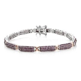Designer Inspired -Rhodolite Garnet (Rnd) Bracelet (Size 8) in Platinum and Rose Gold Overlay Sterli