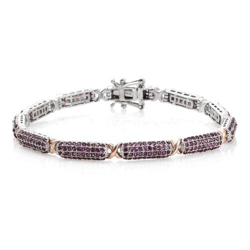Designer Inspired -Rhodolite Garnet (Rnd) Bracelet (Size 8) in Platinum and Rose Gold Overlay Sterli