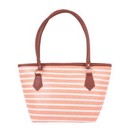 Orange and White Vertical Stripe Pattern Tote Bag (Size 42x16x25cm)