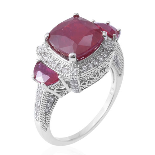 African Ruby (Cush 7.00 Ct), Natural White Cambodian Zircon Ring in Rhodium Overlay Sterling Silver 7.850 Ct, Silver wt 5.70 Gms.