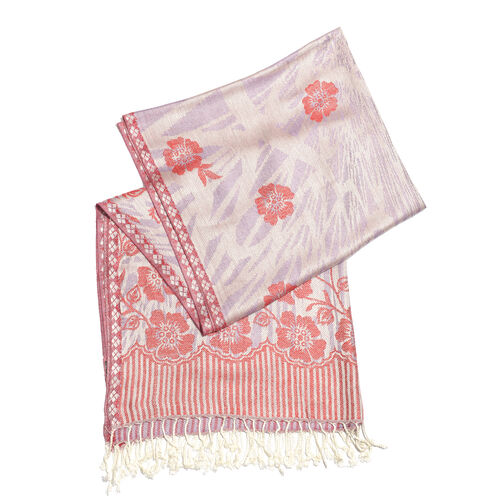 Red and Purple Colour Flower and Leaves Pattern Jacquard Scarf (Size 190x70 Cm)