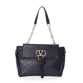 Designer Inspired - Elegant Tote Bag with Exterior Zipper Pocket (Size 32x24x12 Cm) - Black