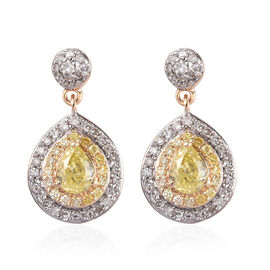 9K Yellow and White Gold - White Diamond and Natural Yellow Diamond Dangle Earrings (with Push Back)