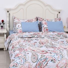 Set of 6 - Paisley Pattern Comforter, Fitted Sheet, 2 Pillow Case and 2 Envelope Pillow Case (Size D