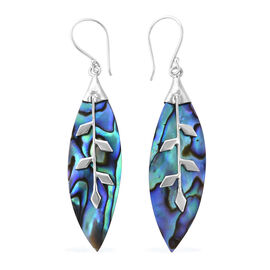 Royal Bali Collection Abalone Shell (Mrq) Leaf Hook Earrings in Sterling Silver