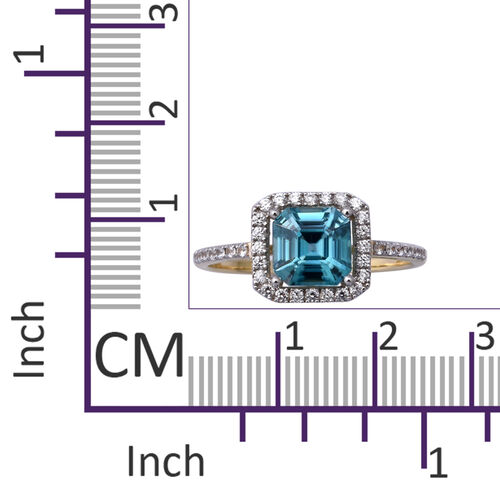 9K Yellow Gold Ratanakiri Blue Zircon (Asscher Cut 7x7mm) and Natural Cambodian Zircon Ring 3.01 Ct.