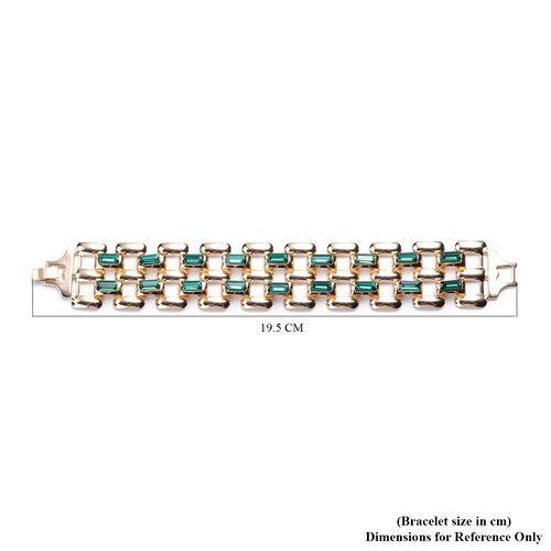 Designer Inspired- Green Crystal- Panther Link Bracelet (Size 7.5) in Gold Tone