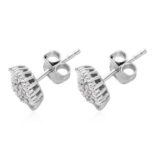 Diamond (Bgt and Rnd) Stud Earrings (With Push Back) in Platinum Overlay Sterling Silver 0.480 Ct, Number of Diamond 114