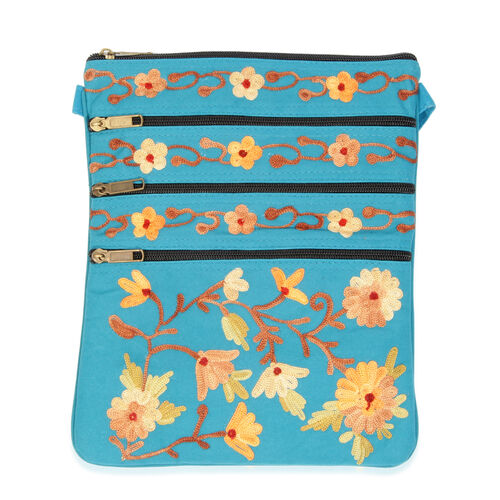 100% Merino Wool Multi Colour Flowers and Leaves Embroidered Turquoise Colour Sling Bag (Size 25x21 Cm)