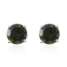 Mystic Green Topaz (Rnd) Earrings (with Push Back) in Platinum Overlay Sterling Silver 4.750 Ct.