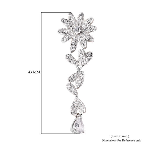 J Francis - Rhodium Overlay Sterling Silver Floral Dangle Earrings (with Push Back) Made with SWAROVSKI ZIRCONIA, Silver wt. 5.99 Gms.