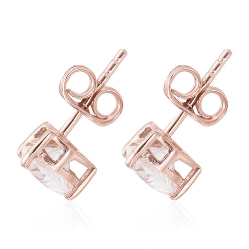 J Francis - Rose Gold Overlay Sterling Silver (Hrt) Stud Earrings (with Push Back) Made with SWAROVSKI ZIRCONIA