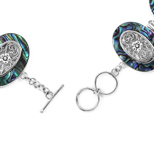 Royal Bali Collection Abalone Shell Bracelet (Size 7.5) in Sterling Silver, Silver wt 27.40 Gms.