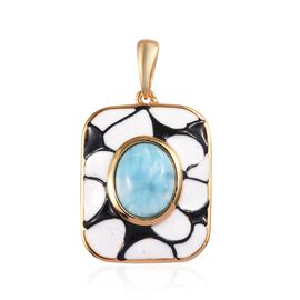 3.25 Ct Larimar Enamelled Solitaire Pendant in Gold Plated Sterling Silver