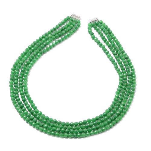 Green Jade Necklace (Size 20) in Rhodium Overlay Sterling Silver 681.500  Ct.
