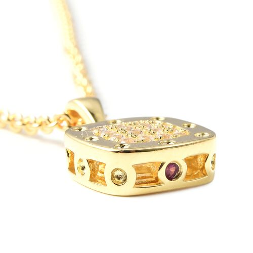 RACHEL GALLEY Majestic Collection Natural White Cambodian Zircon (Rnd), Burmese Ruby Pendant With Chain (Size 20) in Yellow Gold Overlay Sterling Silver, Silver wt 7.96 Gms