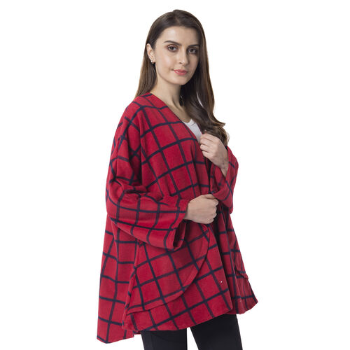 Super Chic and Versitile Chequerd Print Cardigan With Pockets (Size 78x73 Cm) Red