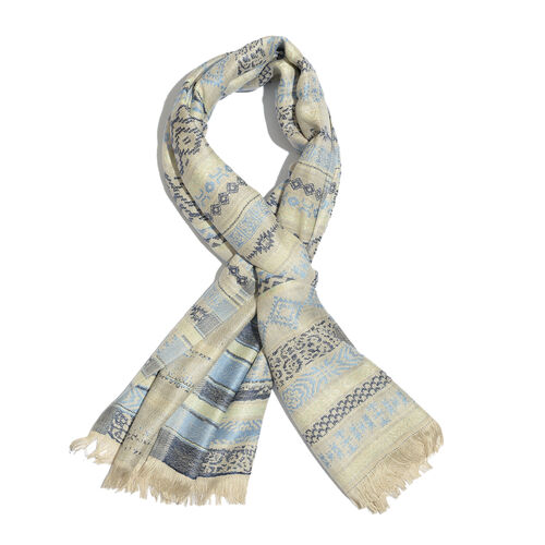 Light Beige and Dark Blue Colour Abstract Pattern Scarf (Size 180X65 Cm)