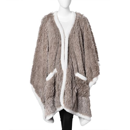 Designer Inspired- Super Soft Brown Colour Long Pile Wrap with Sherpa Border and Pockets (Free Size)
