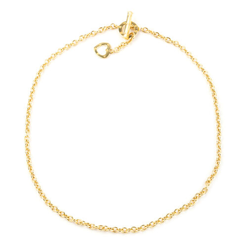 Italian Made-9K Yellow Gold Heart Necklace (Size 18), Gold wt 8.50 Gms