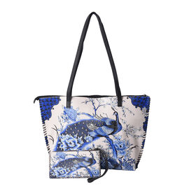 2 Piece Set - Peacock and Peony Pattern Tote Bag (45x9x33cm) and Clutch Bag (20x10cm) - Beige and Bl