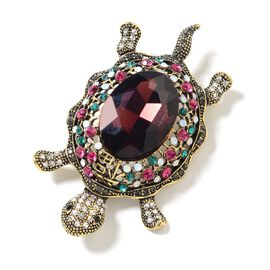 Simulated Rhodolite Garnet (Ovl), Multi Colour Austrian Crystal Turtle Brooch in Gold Tone