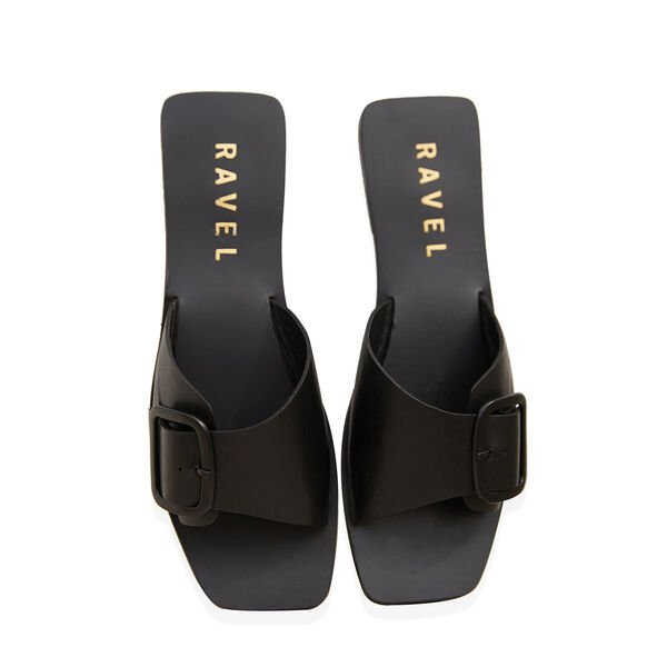 Ravel Moree Leather Mule Sandals (Size 8) - Black