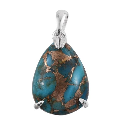 Mojave Blue Turquoise (Pear) Solitaire Pendant in Sterling Silver 8.250 Ct.