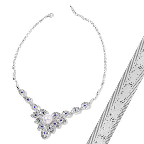 AAA White and Sapphire Blue Austrian Crystal and Simulated Pearl Necklace (Size 20 with 1 inch Extender) and Earrings (with Push Back) in Silver Tone