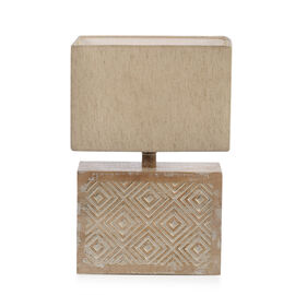 NAKKASHI -Solid Wood Hand Carved Geometrical Table Lamp in Antique White Finish (Lamp Shade Included