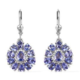 Tanzanite (Pear) Lever Back Earrings in Platinum Overlay Sterling Silver 3.75 Ct.