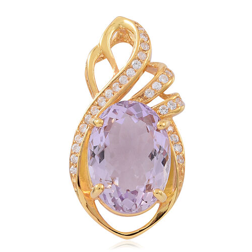 Rare Size Rose De France Amethyst (Ovl 18x13, 11.25 Ct), Natural White Cambodian Zircon Pendant in 14K Gold Overlay Sterling Silver 12.250 Ct.
