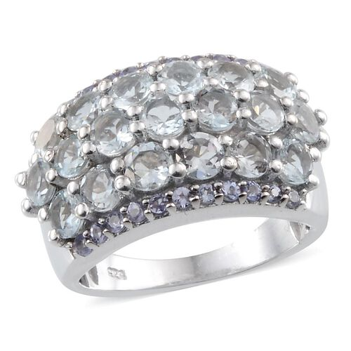 Espirito Santo Aquamarine (Rnd), Tanzanite Cluster Ring in Platinum Overlay Sterling Silver 3.150 Ct.