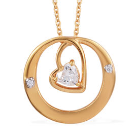J Francis - 14K Gold Overlay Sterling Silver (Hrt) Pendant With Chain (Size 20) Made With SWAROVSKI ZIRCONIA