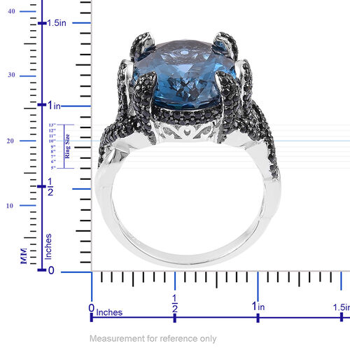 Designer Inspired- London Blue Topaz (Ovl 11.25 Ct), Boi Ploi Black Spinel Cocktail Ring in Rhodium Plated Sterling Silver 12.580 Ct. Number of Gemstone 205