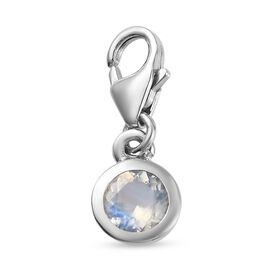 Rainbow Moonstone Charm in Platinum Overlay Sterling Silver